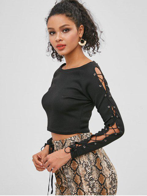 womens Lace Up Raglan Sleeve Crop T-shirt - BLACK L Mobile