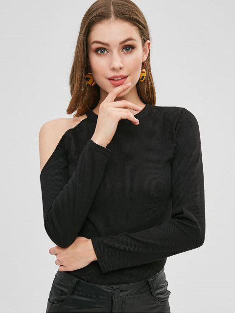ladies Fitted Cold Shoulder T-shirt - BLACK XL Mobile
