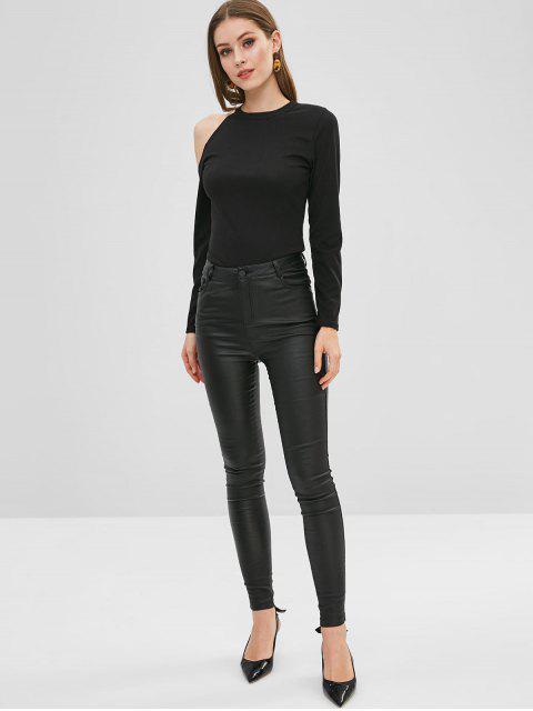 latest Fitted Cold Shoulder T-shirt - BLACK M Mobile