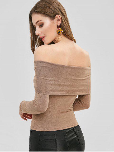 fancy Fold Over Off The Shoulder Top - TAN L Mobile