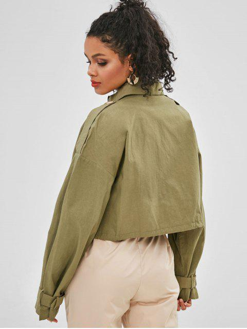 women's Patch Pockets Cropped Military Jacket - ARMY GREEN M Mobile