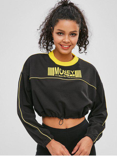 online Drawcord Contrast Graphic Cropped Sweatshirt - BLACK S Mobile