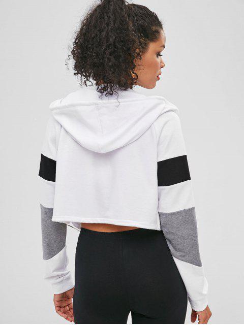 Sweat à Capuche Court Zippé en Blcos de Couleurs - Blanc S Mobile