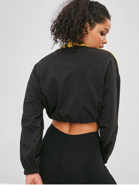 Sweat-shirt court à contraste graphique et cordon de serrage - Noir L Mobile