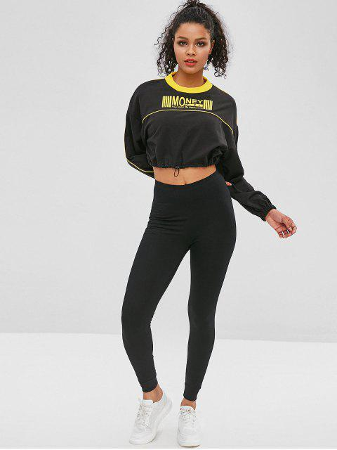 chic Drawcord Contrast Graphic Cropped Sweatshirt - BLACK M Mobile