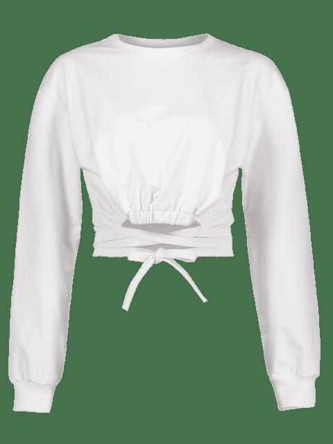 unique Tie Detail Cropped Sweatshirt - WHITE M Mobile