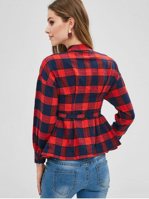 shop Plaid Belted Shirt - RED L Mobile