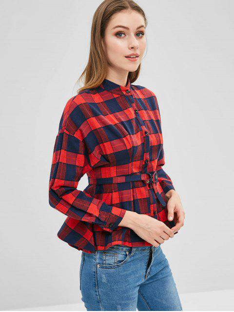 shops Plaid Belted Shirt - RED XL Mobile