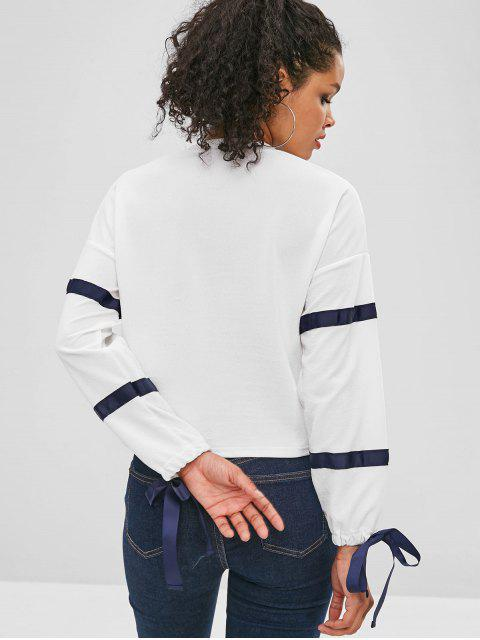 affordable Ribbons Patch Long Sleeve Top - WHITE L Mobile