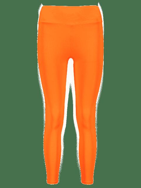 unique Neon High Waisted Skinny Leggings - MANGO ORANGE S Mobile