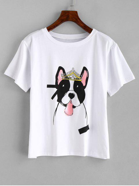 affordable Dog Graphic Tee - WHITE 2XL Mobile