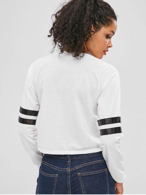 Sweat-shirt Court à Manches Rayées - Blanc S Mobile