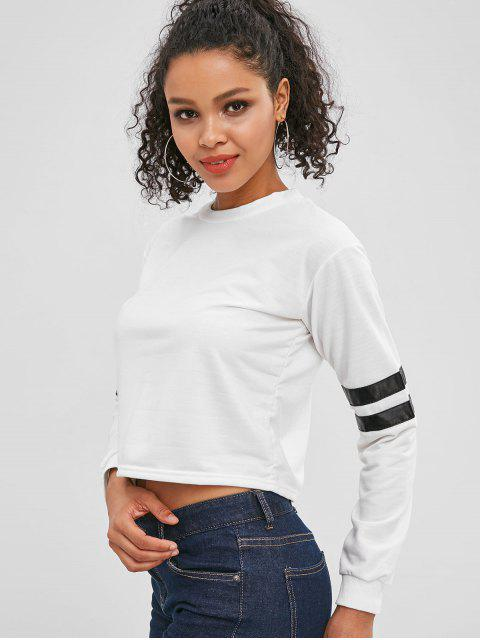 latest Cropped Striped Sleeve Sweatshirt - WHITE M Mobile