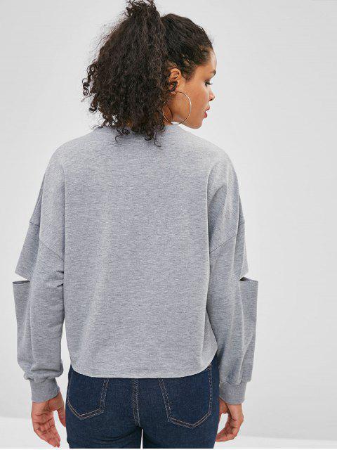 online Letter Graphic Drop Shoulder Elbow Cut Sweatshirt - GRAY CLOUD M Mobile