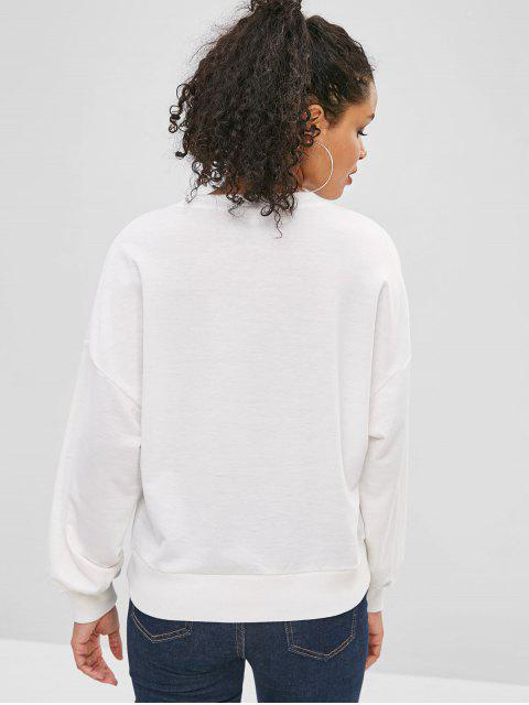 outfit Graphic Drop Shoulder Loose Sweatshirt - WHITE S Mobile