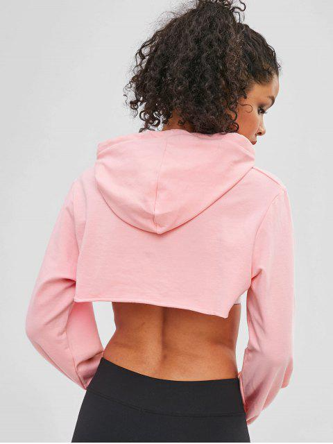 Offener Fehlschlag-Ernte-roher Saum Hoodie - Helles Rosa M Mobile
