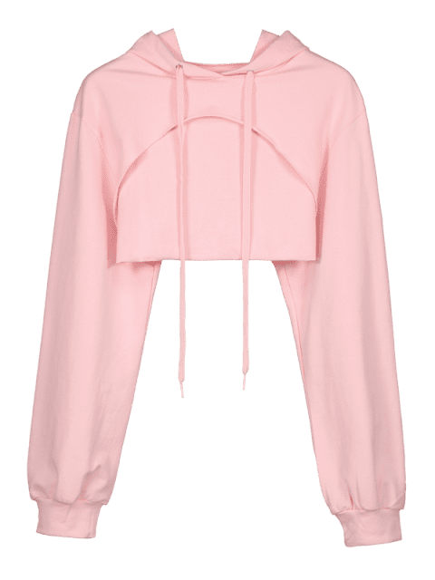 Offener Fehlschlag-Ernte-roher Saum Hoodie - Helles Rosa S Mobile