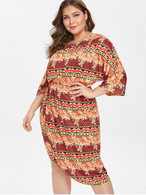 fashion Printed Plus Size Asymmetrical Dress - MULTI-A 2X Mobile