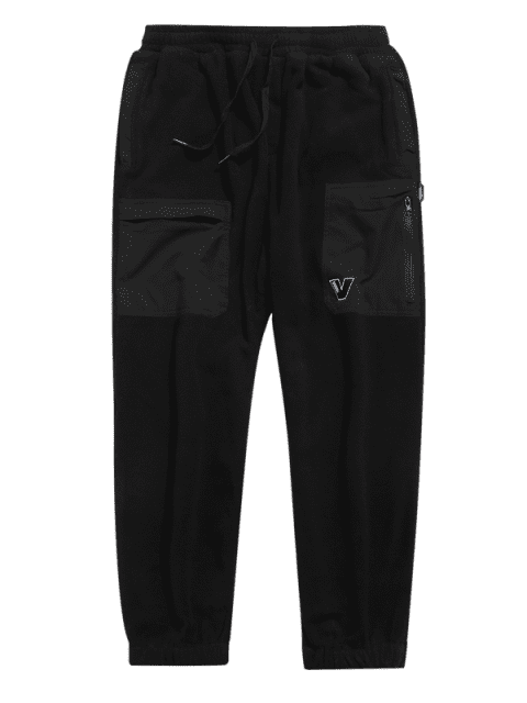 shops Hit Color Drawstring Fleece Jogger Pants - BLACK XL Mobile