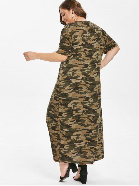 ladies Grommets Camo Plus Size T-shirt Dress - ACU CAMOUFLAGE 1X Mobile