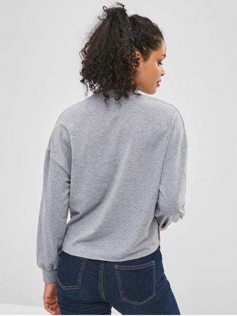 Sweat-shirt Cœur Graphique à Goutte Epaule Saint Valentin - Cuirassé Gris L Mobile