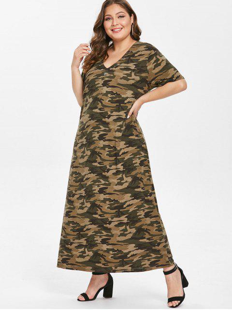 latest Grommets Camo Plus Size T-shirt Dress - ACU CAMOUFLAGE 2X Mobile