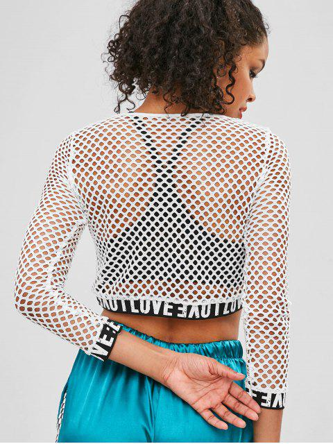 best Letter Patched Fishnet Crop Tee - WHITE XL Mobile