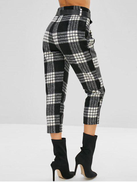 fashion Belted Plaid Zip Fly Pencil Pants - MULTI-A L Mobile