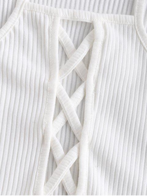 fancy Criss Cross Lattice Ribbed Tank Top - WHITE ONE SIZE Mobile