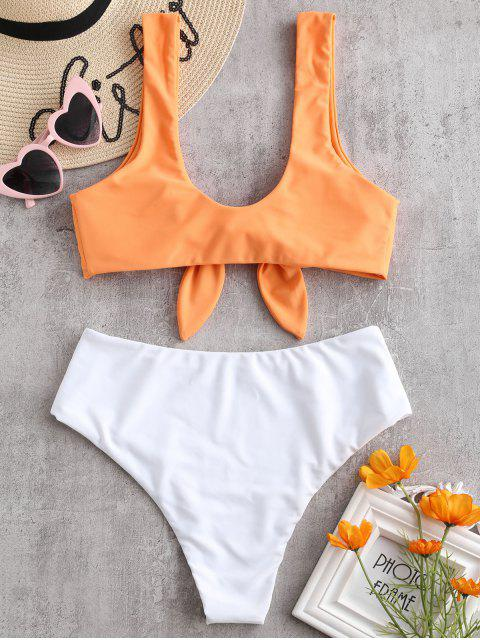 latest Two Tone Tied High Waisted Bikini Set - MANGO ORANGE L Mobile