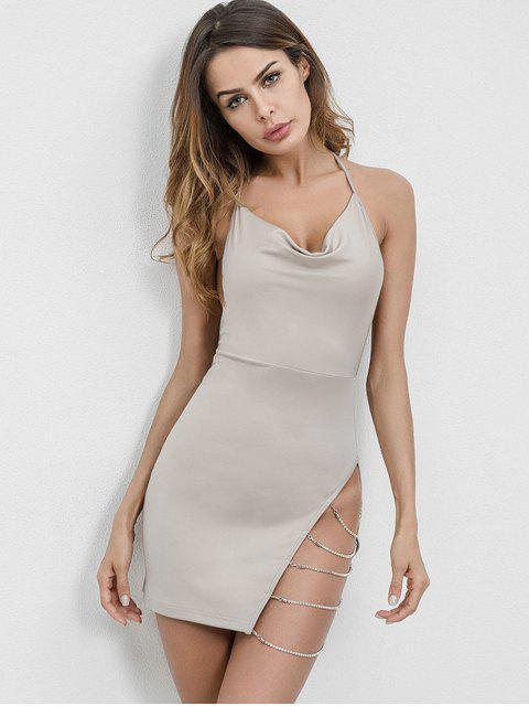 hot Chains Embellished Backless Halter Dress - LIGHT GRAY M Mobile