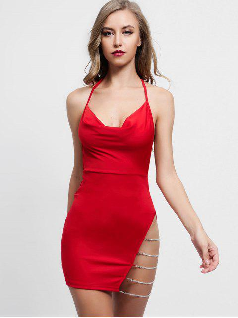 sale Chains Embellished Backless Halter Dress - RUBY RED S Mobile