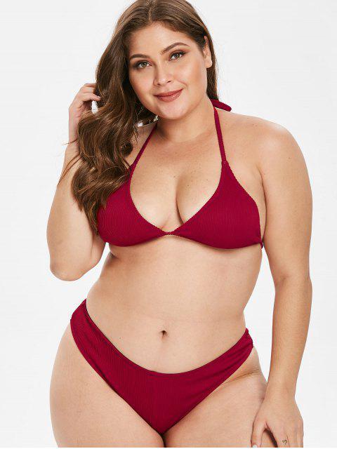 womens ZAFUL Ribbed Halter Plus Size Bikini Set - RED WINE 3X Mobile