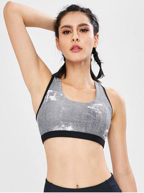 online Heather Color Block Cutout Bra - GRAY M Mobile