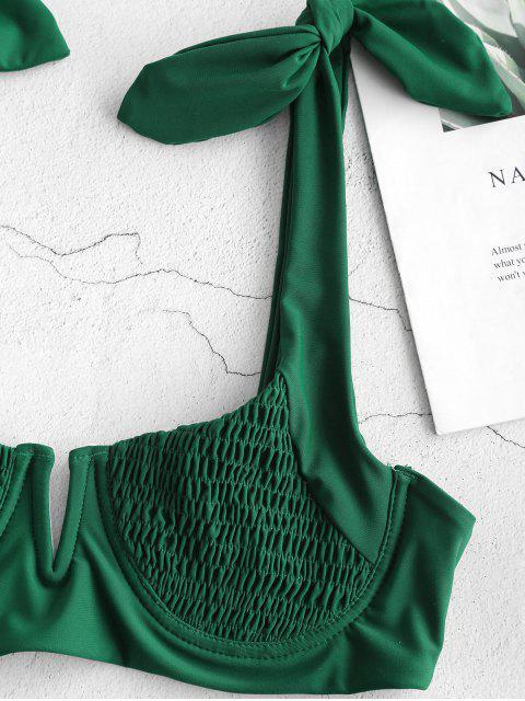 affordable ZAFUL Smocked Tie Shoulder Bikini Set - DEEP GREEN S Mobile