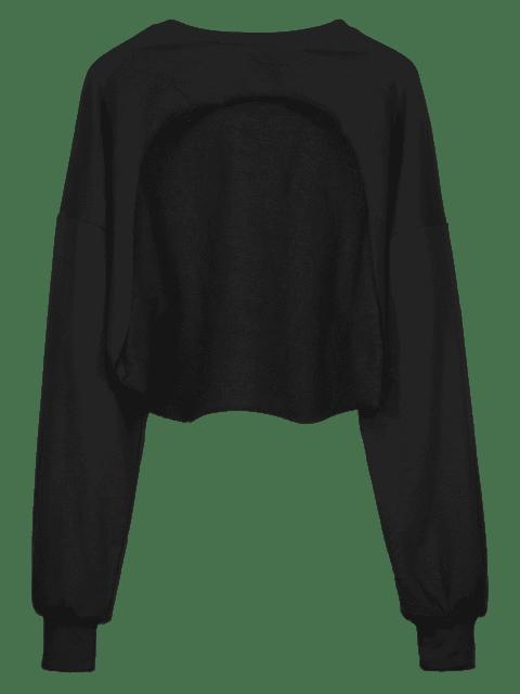 ZAFUL Sweat-shirt Court au Poitrine Ouverte à Ourlet Brut - Noir L Mobile