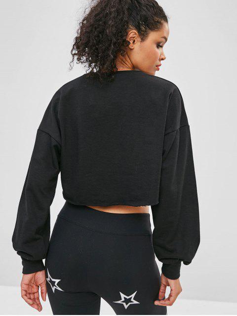 ZAFUL Sweat-shirt Court au Poitrine Ouverte à Ourlet Brut - Noir S Mobile