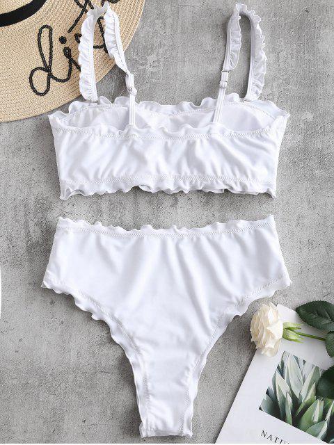 women ZAFUL Lettuce Frilled Bandeau Bikini Set - WHITE XL Mobile