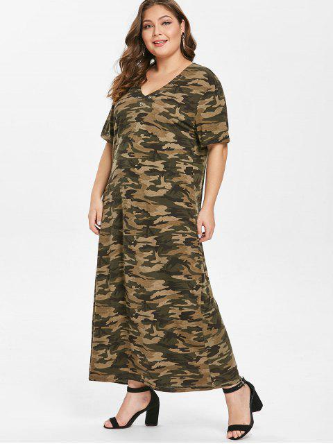 latest Grommets Camo Plus Size T-shirt Dress - ACU CAMOUFLAGE 2X Mobile