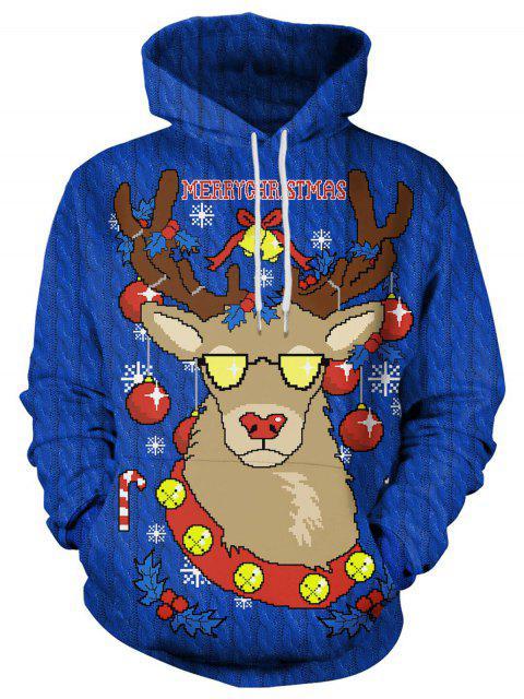 Sudadera con capucha con estampado de alces navideños - Azul L Mobile