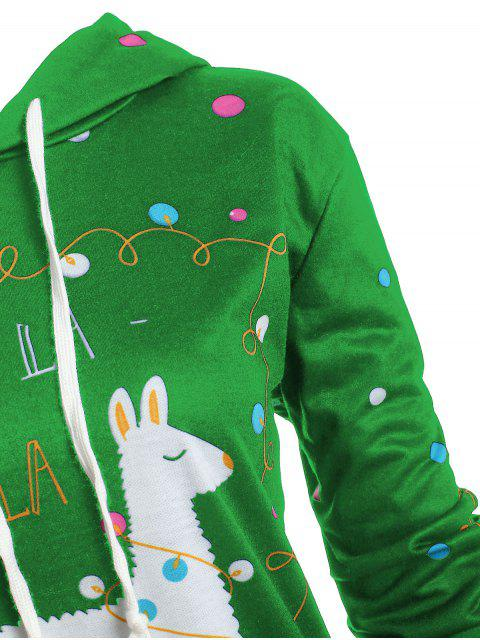 Plus Size Christmas Pattern Polka Dot Hoodie - 綠色 1X Mobile