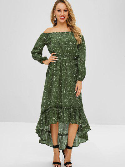 008f29b46c7 ... ZAFUL High Low Flounce Polka Dot Dress - Dark Green Xl