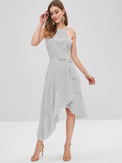 7a70d19236c ... Polka Dot Belted Asymmetrical Ruffle Dress - Milk White M