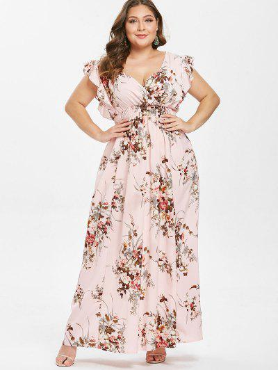 6131a083506 ... Ruffles Floral Plus Size Maxi Dress - Pink 3x