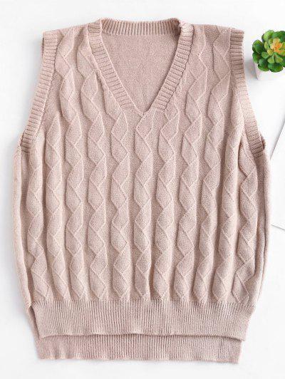 2770aef7c7d62 V Neck Slit Knit Vest Sweater - Apricot