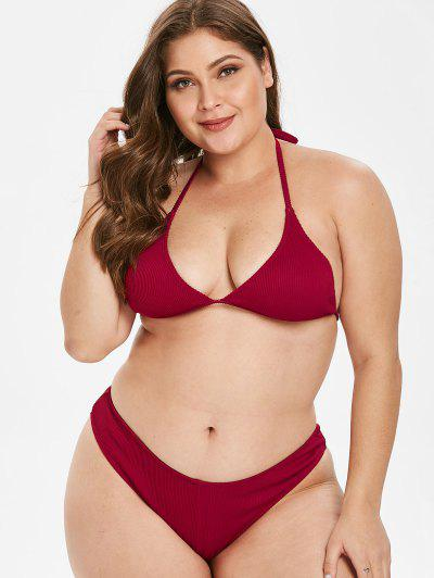 8f25e8575b ... ZAFUL Ribbed Halter Plus Size Bikini Set - Red Wine L Flash sale