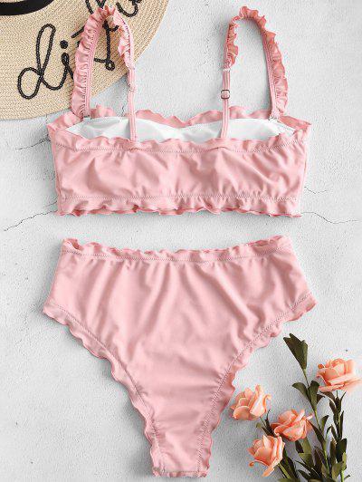 e87e75bf35135 ... ZAFUL Lettuce Frilled Bandeau Bikini Set - Pig Pink M