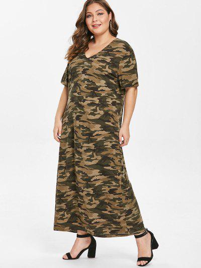 Grommets Camo Plus Size T-shirt Dress, Acu camouflage ...