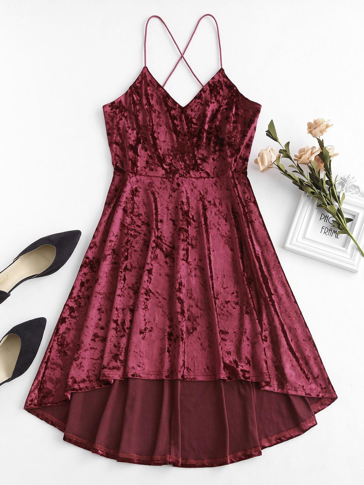 ZAFUL Velvet Criss Cross Cami Dress, Red wine
