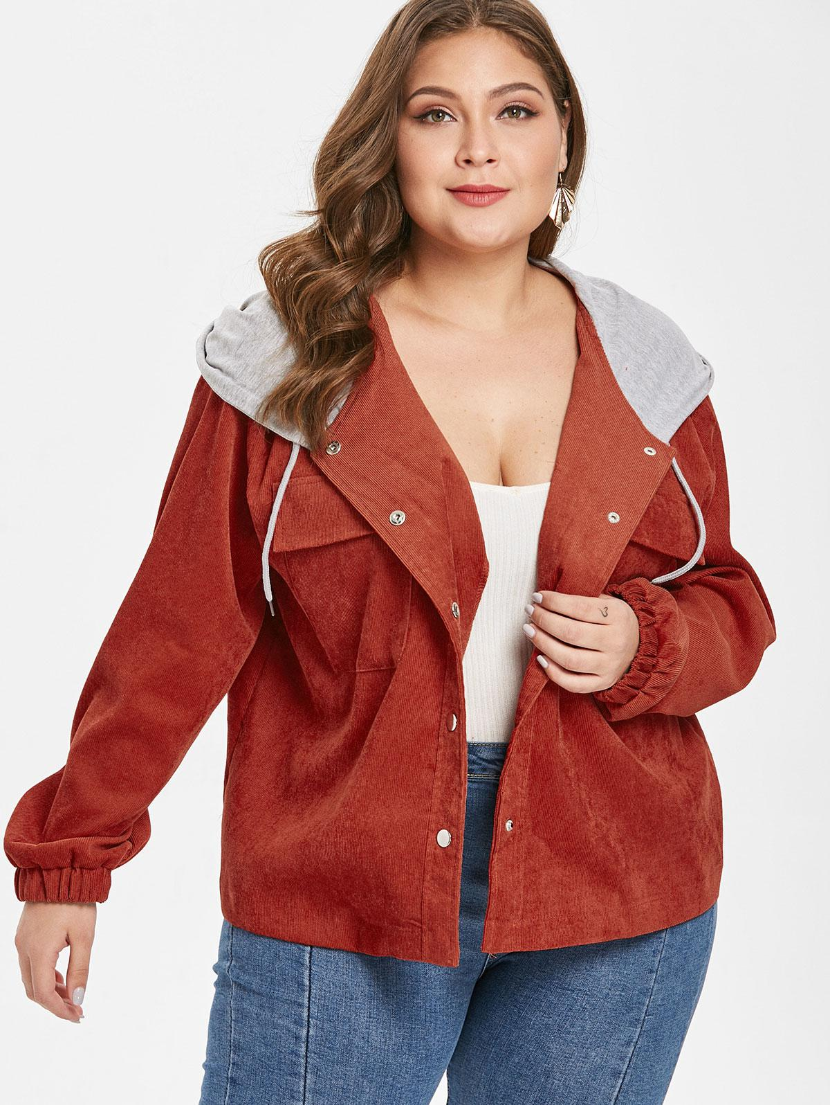 Hooded Plus Size Corduroy Jacket thumbnail